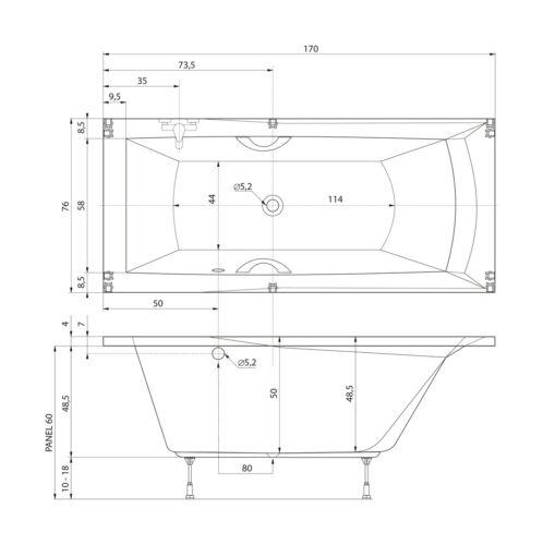 Badewanne 170x75 cm Porta Links incl Füße Wanne Rechteckwanne extra tief 50 cm