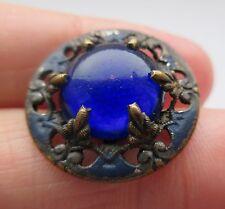 Brilliant Antique Victorian Enameled Metal BUTTON w/ Cobalt Blue GLASS Center