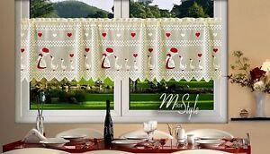 "Cream Cafe Net Curtain Lace Geese 24"" drop Price Per Metre"