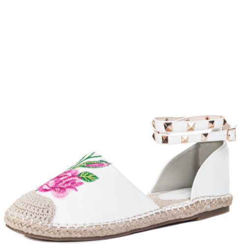Womens Adjustable Buckle Embroidery Flat Strappy Sandals Shoes