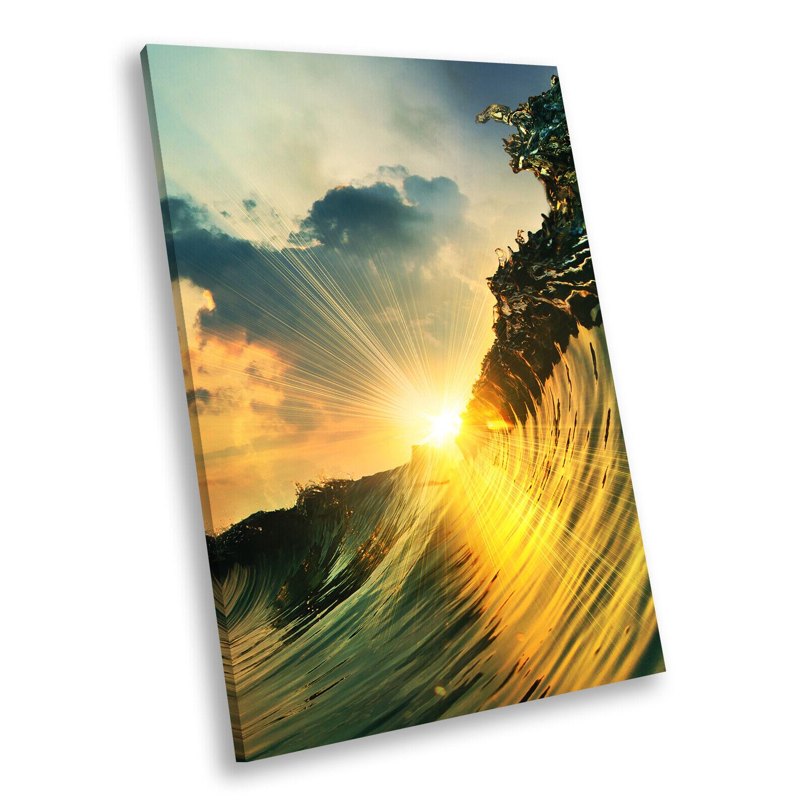 Grün Gelb Wave Sunset Cool Portrait Scenic Canvas Wall Art Picture Prints