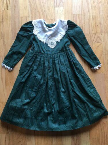 Vtg 80s Jayne Copeland Sz 5 Dress Dark Green Cotta