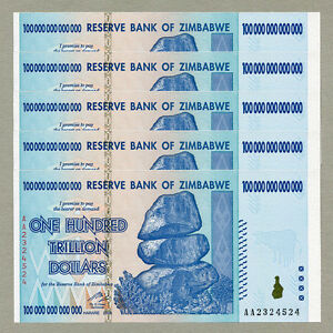 Details about Zimbabwe 100 Trillion Dollars x 5 pcs AA 2008 P91 consecutive  UNC currency bills