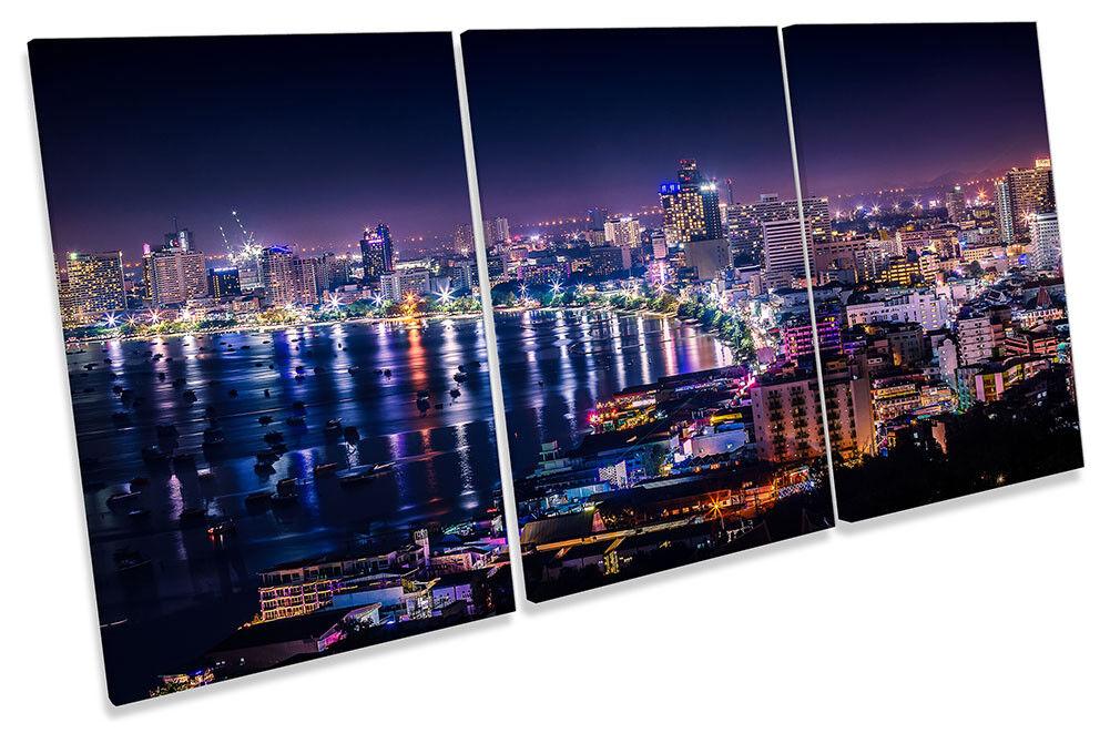 Pattaya Thailand Skyline City Framed CANVAS PRINT TREBLE Wall Art