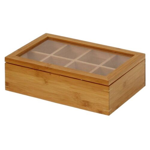 Tea Bamboo Box Storage Sugar Bag Organizer 8 Sections Wood Packet Container
