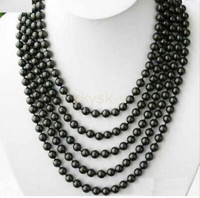 AA 6-7mm TAHITIAN BLACK PEARL NECKLACE 100 INCH