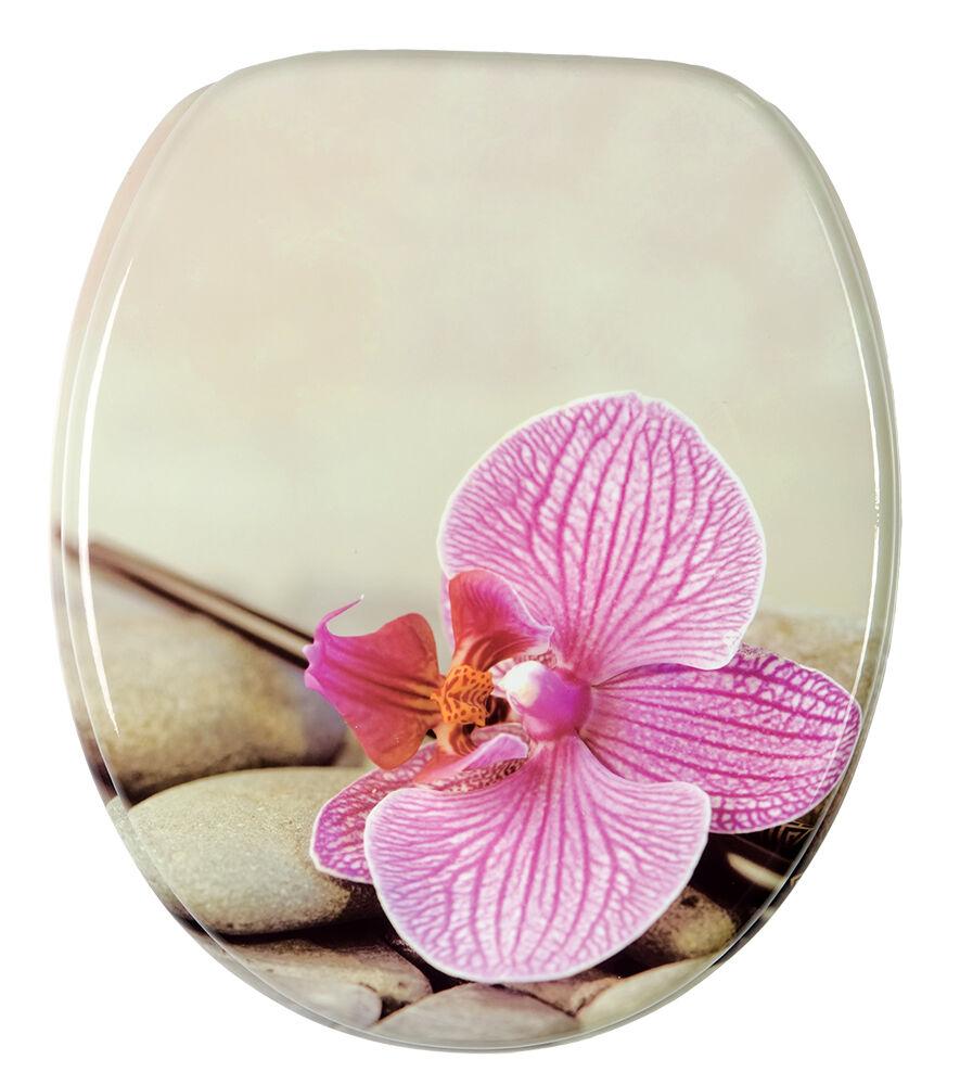 wc sitz toilettendeckel klodeckel toilettensitz mit absenkautomatik orchidee ebay. Black Bedroom Furniture Sets. Home Design Ideas