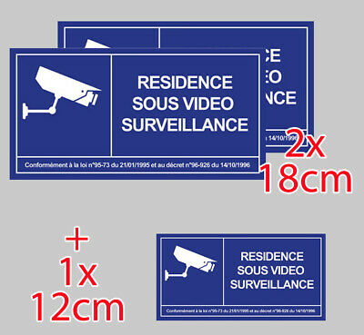 2 X ETABLISSEMENT SOUS VIDEO SURVEILLANCE ALARME CAMERA 12cm STICKER VA101