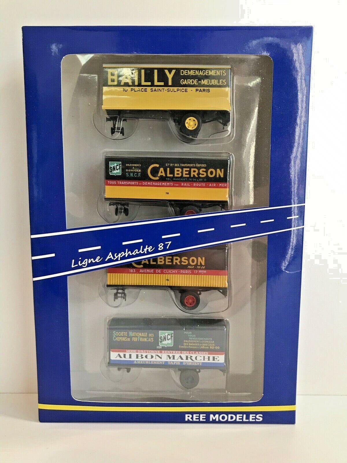 REE FB-006 - Asphalte 87 SET 4 remorques BAILLY CALBERSON AU BON MARCHÉ HO neuf