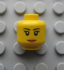 Lego Female Yellow Minifigure HEAD - PINK LIPSTICK & Smile- City Ninjago -NEW!