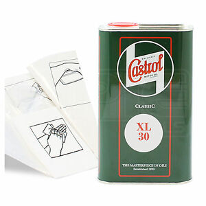 Engine-Oil-Top-Up-1-LITRE-Castrol-Classic-XL30-SAE30-1L-Gloves-Wipes-Funnel