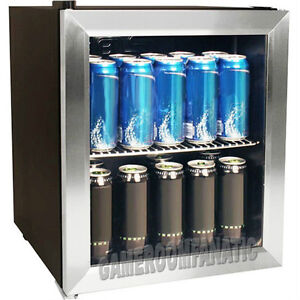 Image is loading Stainless-Steel-Beverage-Cooler-Mini-Fridge-Compact-Glass-
