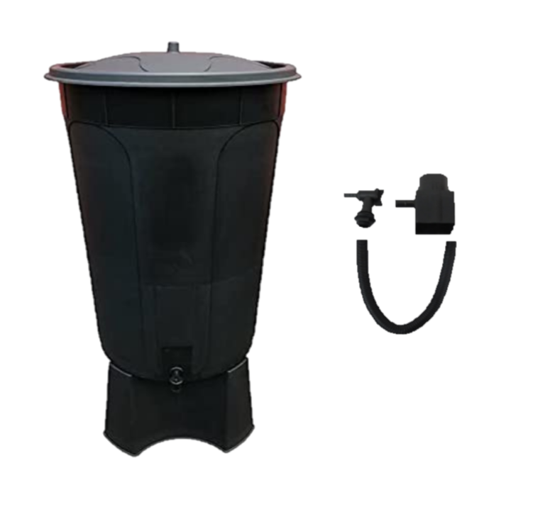 200 LITRE WATERBUTT WITH STAND TAP & LID + DIVERTER KIT MADE IN UK BLACK