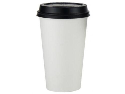 1000 x 16oz White Paper Cups Single Wall Disposable Black Lids