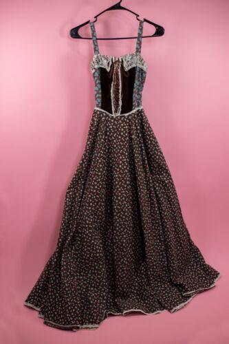 GUNNE SAX Vtg 70's Prairie Peasant Dress w/ Velvet