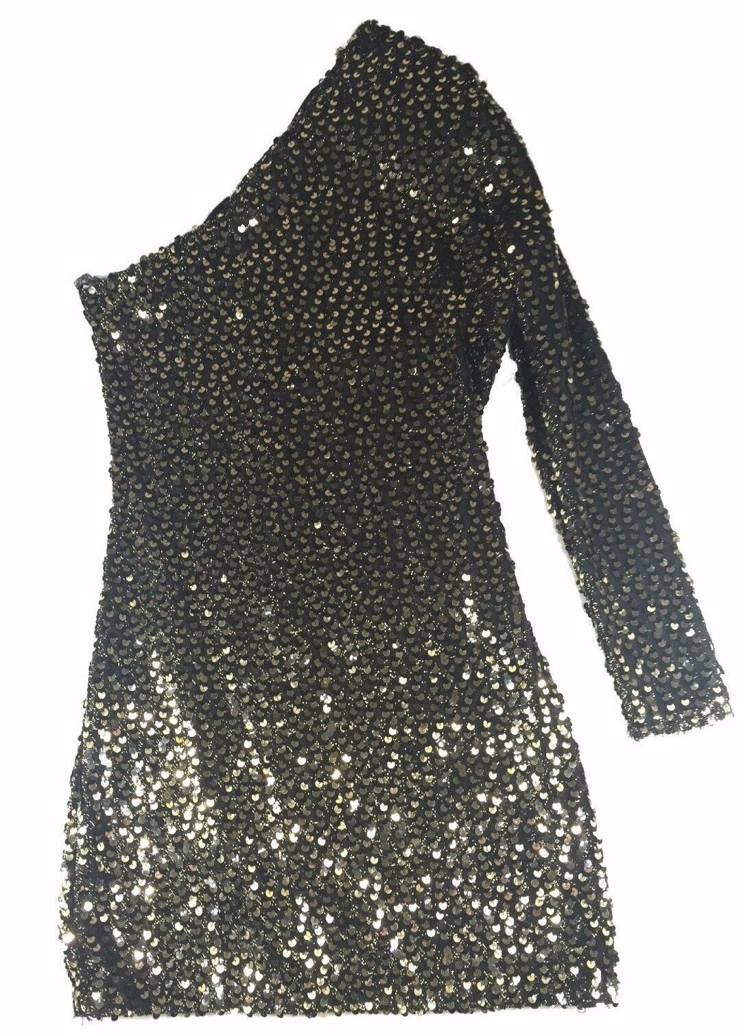 VINTAGE gold Sequin One Arm Sleeve Dress For David Howard Climax Karen Okada 7 8