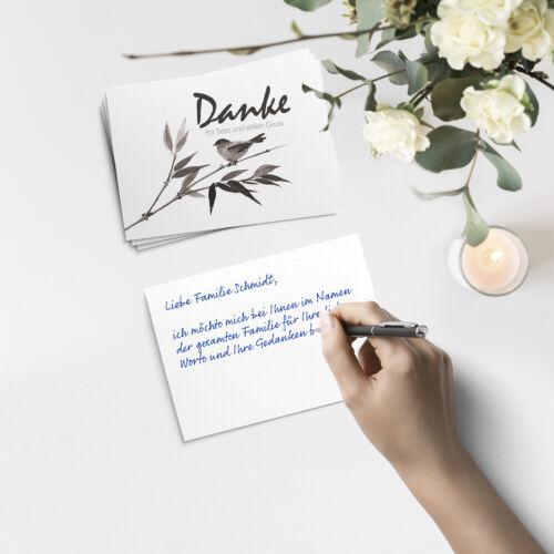 15 Trauer-Danksagungskarten Trauer-karten Umschlag edel Motiv Vogel Danke Trost