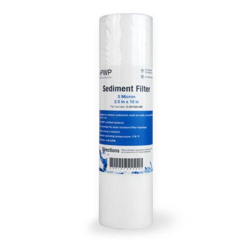 "Sediment Melt Blown Water Filter Cartridge Standard 2.5x10/"" 5 Micron 25 Pack"