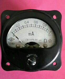 1-Stck-Einbauinstrument-1-mA-DC-UdSSR-NOS-2-5-schwarz-TOP-Zustand