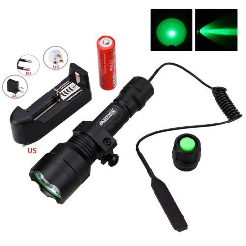 5000LM LED verde linterna táctica caza antorcha cerdo ajuste 20mm carril batería
