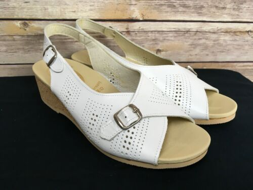 Worishofer Women's Size 41 White Open Toe Perforat