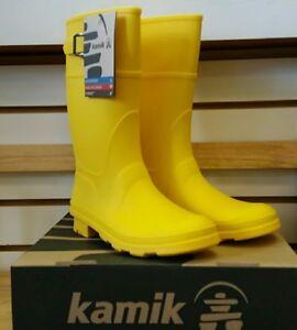 KAMIK RAINDROPS Girls Boys Yellow RAIN SNOW WATER PROOF Boots 4 NEW muck farm