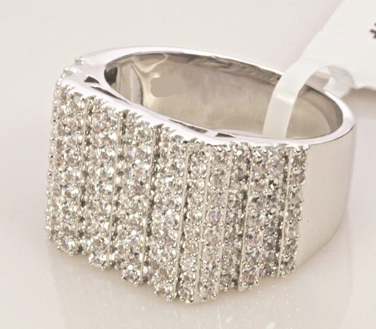 Mens 14k White Gold Finish Diamond Wedding Ring Band Pinky 2.00 Ct