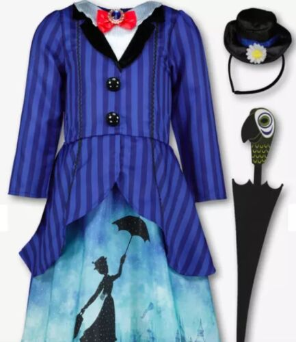 Kids Disney Mary Poppins Blue Fancy Costume 3 Part Set 3-10 years