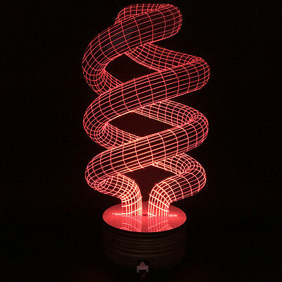 Spiral Lamp Novelty Spiralism Lamp 3D Change Color Lamp with Remote Control