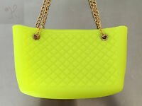 Women Hot Lime Yellow Jelly Frosted Candy Silicone Shoulder Purse Handbag