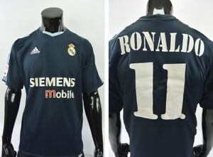 superior quality 1134b 035ce Details about GALACTICOS 2003-2004 adidas Real Madrid Away Shirt RONALDO  Luis Nazario SIZE L
