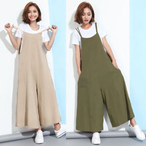84175fd49c89 Oversized Women Dungaree Loose Plain Wide Leg Bib Pants Jumpsuit ...