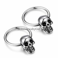 One Pair Gothic Skull Punk Rock Men's Women's Stainless Steel Hoop Earrings
