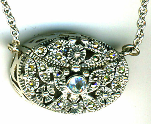 "925 Sterling Silver Blue Topaz /& Marcasite Prayer Box Locket Pendant  26/"" chain"