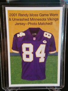 online retailer 70a59 486a4 Details about 2019 HERITAGE AUCTIONS '2001 Randy Moss Game Worn Vikings  Jersey' NSCC promo ca.