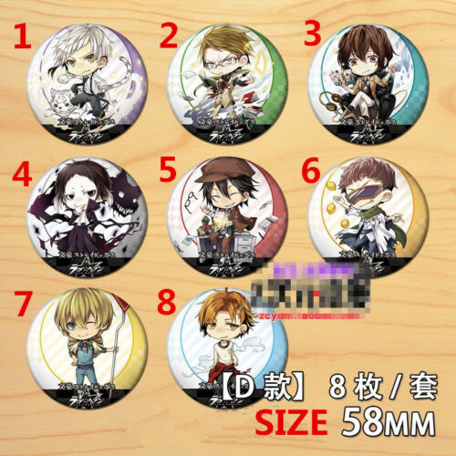 "2.3/"" T1229 Anime Bungou Stray Dogs badge Pin button Schoolbag Decorate 5.8CM A"