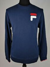 2ddc3f8bdf88 Fila Embroidered Big Logo Mens Sweatshirt Long Sleeve Navy Terry Loop Crew  Neck