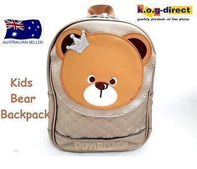 KIDS CHILDRENS BACKPACK KINDER BAG FUNKY CUTE DESIGN BEAR FACE PURPLE HW166
