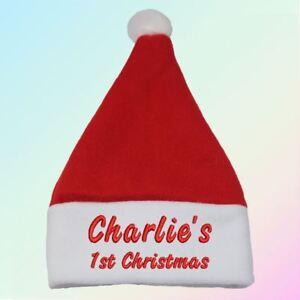 La imagen se está cargando 034-nombre-034-1st-Navidad-Santa-Sombrero-Regalo- 02aac59057e