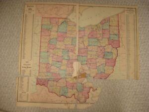 Large Antique 1874 Ohio Handcolored Railroad Map Cuyahoga Ottawa