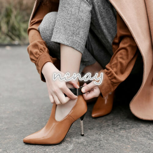 Details about  /Womens PU Leather Stiletto High Heels Boot Pointed Toe Ankle Strap Buckle Shoes