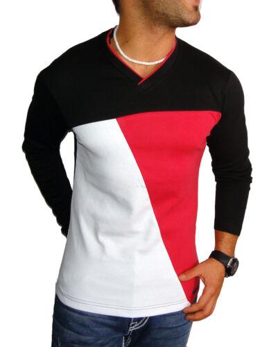 Jeel Uomo Manica Lunga Top Maglioncino Felpa manica lunga shirt grande girocollo V-Neck Nuovo