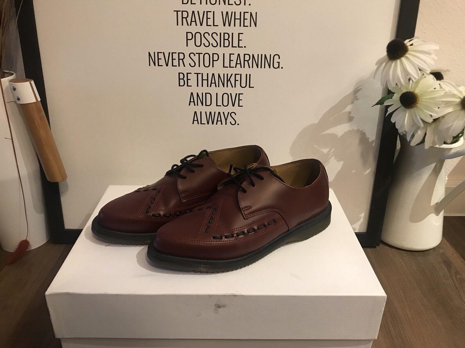Dr Martens aliado Vino Rojo Cuero 3-eye Oxford Zapato, mujeres US6, EU37