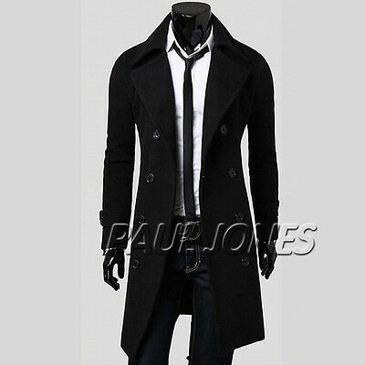 Ambitious Mens Peacoat Windbreak Long Trench Formal Casual Coat Jacket Overcoat