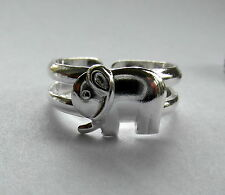 Sterling Silver (925) Adjustable Elephant Toe Ring With Two Rings  !!   New !!