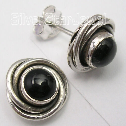 """ROUND SHAPE Ear Studs 4.3 gms 925 Solid Silver ONYX SPIRAL KNOT Earrings 0.4/"""""""