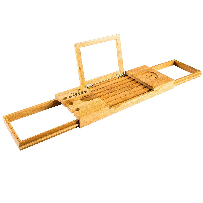 Premium Bambù Bagno Caddy-Lussuosa vasca da bagno in legno vassoio-Libro di riposo e di vino H