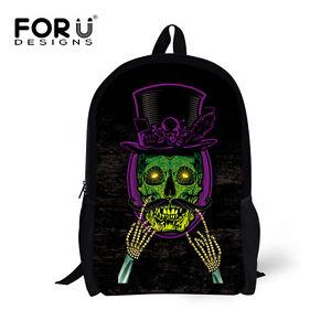Back to School Book Bag Children Boys Girls Cool Skull Backpack ... d03b119ad4314