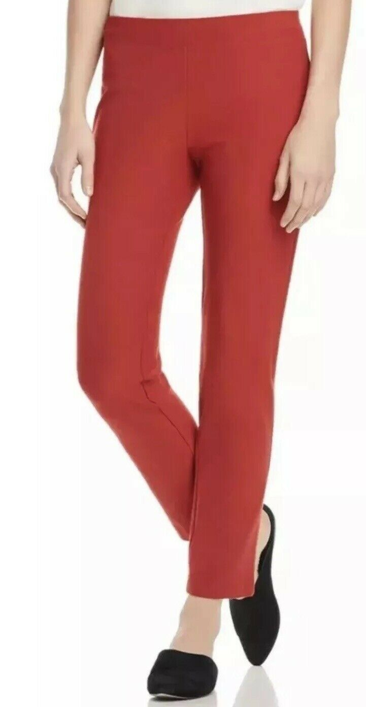NEW EILEEN FISHER SILVER WASHABLE STRETCH CREPE SLIM ANKLE PANT XL $168