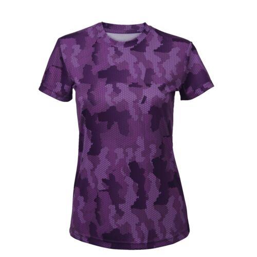 Ladies Fitness Running Short Sleeve T Shirt Tee Top Gym Sports Yoga Camo T-Shirt